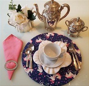 Capa de tecido para sousplat fundo azul unicornio com detalhe rosa