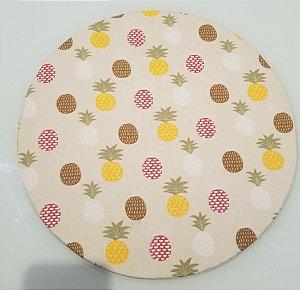 Capa de tecido para sousplat abacaxi pequeno fundo creme