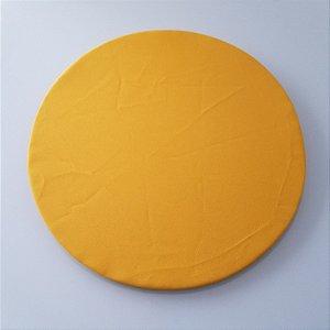 Capa de tecido Sousplat tergal amarelo liso copa