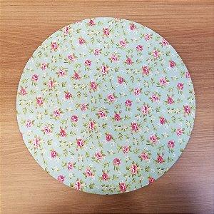 Capa de tecido Sousplat verdinha com rosinhas e florzinha brancas