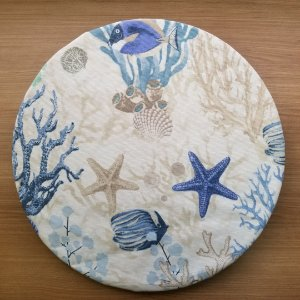 Capa sousplat tecido tecido decoração fundo do mar branca peixes estrelas do mar