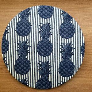 Capa sousplat tecido tecido decoração listrado azul e branco abacaxi azul