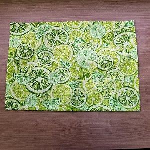 Lugar Americano tecido decoração 44cm por 32cm limão fundo verde