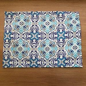 Lugar Americano tecido decoração 44cm por 32cm mosaico azulejo portugues azul