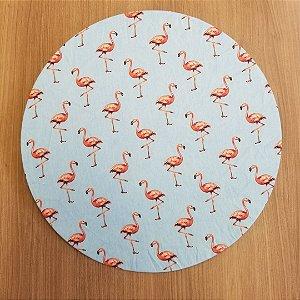 Capa de tecido fundo azul com flamingos SALMÃO
