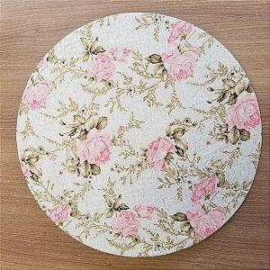 Capa de tecido linho com flores rosa muito delicado e chique