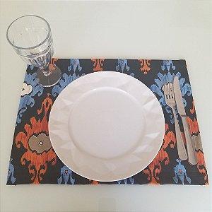 Lugar Americano tecido decoração 45 cm por 33cm fundo preto mosaico azul laranja