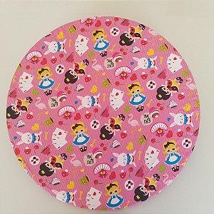 Capa Sousplat tecido digital fundo pink listrado princesas