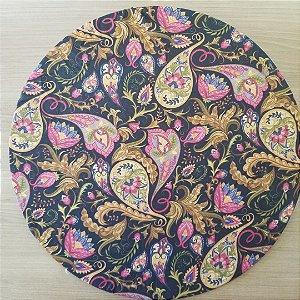 capa tecido ditital fundo preto mandalas arabescos