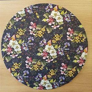 capa tecido digital fundo preto flores branca laranja roxa  e folhas