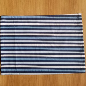 Lugar Americano tecido decoração 44cm por 32cm listrado azul claro azul marinho branco