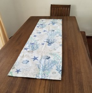Caminho de Mesa tecido decoração Mar 1,40cm por 45cm