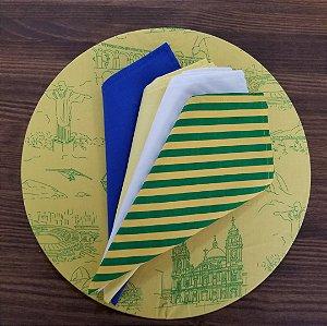 Capa Sousplat tecido algodão Amarelo com figuras do Rio em verde