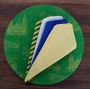 Capa Sousplat tecido algodão Verde com figuras do Rio em Amarelo