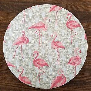 Capa Sousplat tecido algodão decoração Flamingos Rosa