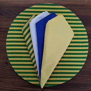 Capa Sousplat tecido algodão listras verde amarelo