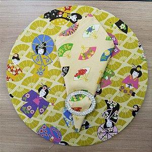 Capa de tecido algodão para sousplat japonesas
