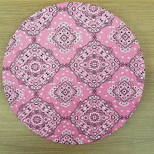 Capa de tecido algodão para sousplat bandana rosa
