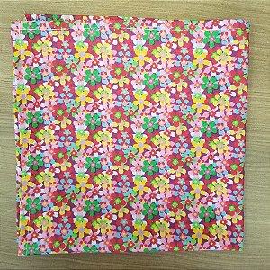 Guardanapo de tecido algodão 42cm floridinho rosinha e amarelinho