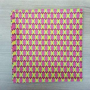 Guardanapo de tecido algodão 42cm mosaico amarelo rosa verde