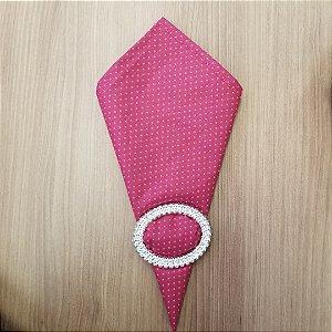 Guardanapo de tecido algodão 42cm roxo com poas rosa