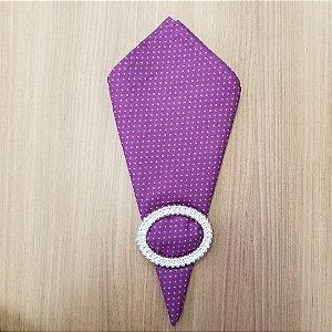 Guardanapo de tecido algodão 42cm roxinho com poas rosa