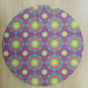 Capa Sousplat tecido algodão mosaicovermelho amarelo verde