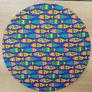 Capa Sousplat tecido algodão azul marinho peixinhos