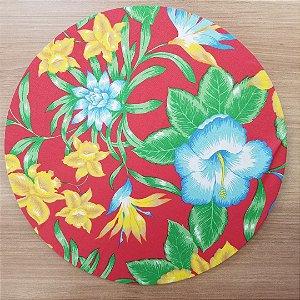 Capa Sousplat tecido algodão flores amarelas azuis fundo vermelho