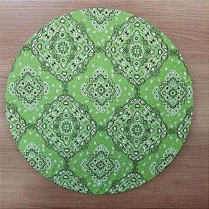 Capa Sousplat tecido algodão bandana verde