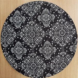 Capa Sousplat tecido algodão bandana preta