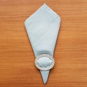 Guardanapo de tecido algodão 42cm  azul claro riscadinho