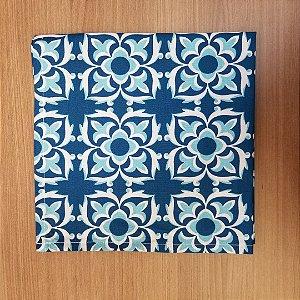 Guardanapo de tecido algodão 42cm mosaico azul