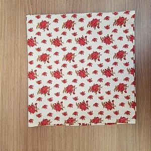Guardanapo de tecido algodão 42cm fundo branco com rosas