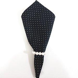 Guardanapo de tecido algodão 42cm fundo preto bolinha douradas