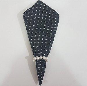 Guardanapo de tecido algodão 42cm bolinha branca fundo preto