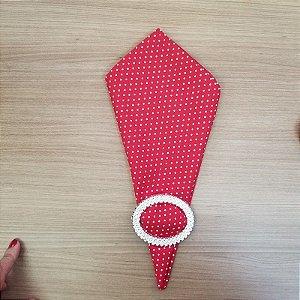 Guardanapo de tecido algodão 42cm bolinha brance fundo vermelho s/ costura
