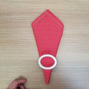 Guardanapo de tecido algodão 42cm fundo vermelho bolinha branca c/ costura