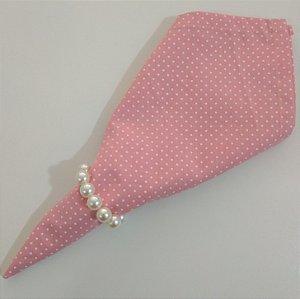 Guardanapo de tecido 42cm fundo rosa com bolinhas brancas