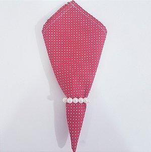 Guardanapo de tecido 42cm fundo vermelho bolinhas brancas