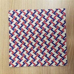 Guardanapo de tecido 42cm trançado azul branco e vermelho
