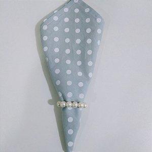 Guardanapo de tecido 42cm fundo cinza com bolinhas brancas