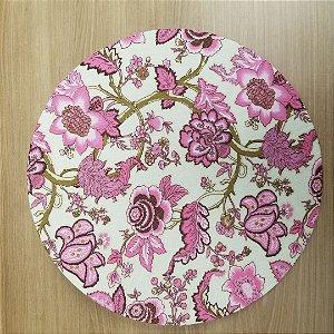 Capa de tecido para sousplat fundo branco flores e troncos