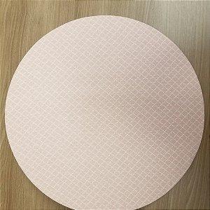 Capa de tecido para sousplat quadriculado rosinha