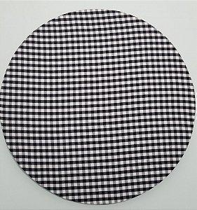 Capa de tecido xadrez pequeno azul marinho cruzado com branco