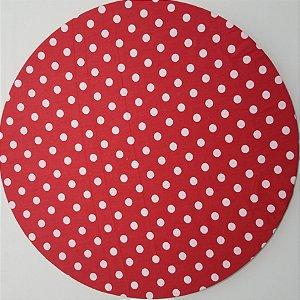 Capa de tecido vermelho com bolinhas
