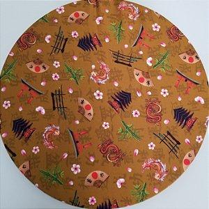 Capa de tecido objetos japoneses fundo bege