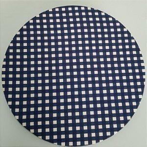 Capa de tecido xadrez pequeno azul marinho