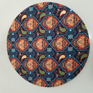 Capa de tecido mosaico azul com laranja