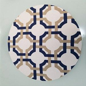 Capa de tecido mosaico trançado azul com dourado